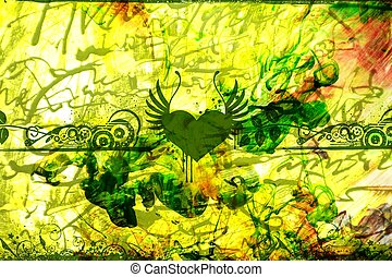 Grungy Green Abstract with Strange Fluids, Inks and Floral...