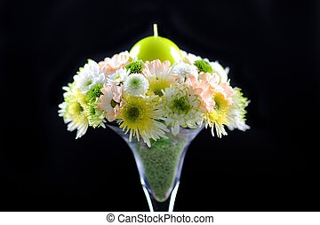 Wedding Bouquet - Flowers Bouquet with Green Candle. Part of...