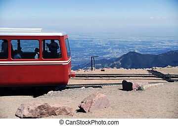 Pikes Peak Cog Train - Cog Railroad. Pikes Peak Summit...