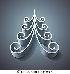 Shining silver 3d christmas tree RGB EPS 10 vector