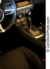 Sporty Car Interior Dark Leather Interior Transportation...