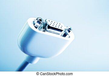 VGA Connector - White VGA Cable Closeup. Computer Technology...