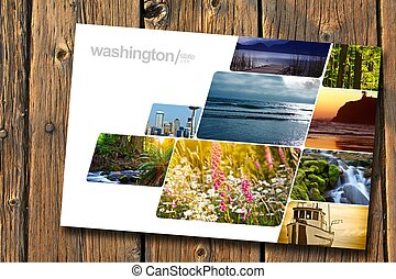 Washington State Postcard on Aged Wood Planks. Washington...