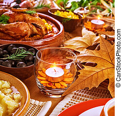 Thanksgiving table decoration - Thanksgiving day menu,...