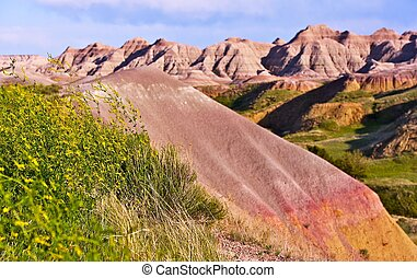 Badlands Buttes - Badlands National Park, South Dakota, USA....