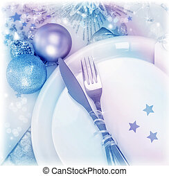 Christmastime silverware - Christmastime table setting,...