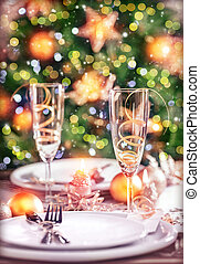 New Year table setting - Closeup photo on festive dinner...