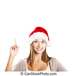 Beautiful christmas woman - Portrait of attractive woman...