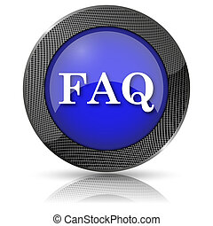 FAQ icon - Shiny glossy icon with white design on blue...