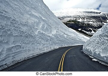 Road Thru Snow - Huge Snowfields on Sides of the Road....