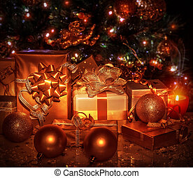 Christmas gifts under tree - Many different gift boxes...