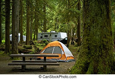 The Campground - Small Orange Tent and Travel Trailer in the...