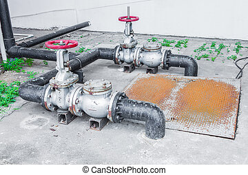 valve water - The flanges, couplings, valves and pipes of an...