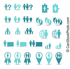 Set business icons, management and human resources -...