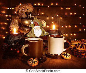 Christmas coffee with cookies - Christmas still life, tasty...