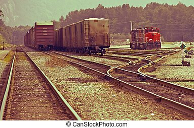 Canadian Railroads Theme. Vintage Colors. Transportation and...
