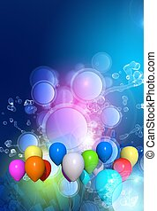 Celebration Background with Colorful Balloons and Splashes....