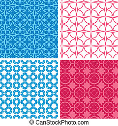 Four blue and red abstract geometric patterns and...