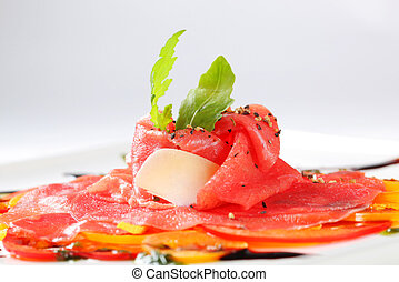 Carpaccio dish - Beef Carpaccio on nest of thinly sliced...