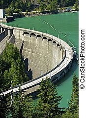 Diablo Dam at Diablo Lake - North Cascades National Park,...