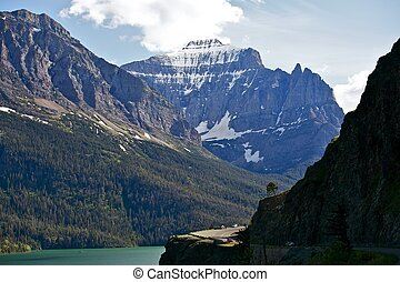 Mountains in Montana and Saint Mary Lake - Glacier National...