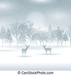 Deer in a winter landscape