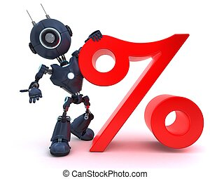 Android with percentage symbol - 3D Render of an Android...