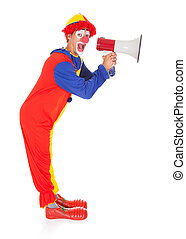Clown Shouting Through Megaphone - Portrait Of A Funny Joker...