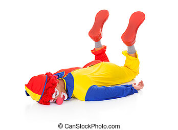 Exhausted Clown Lying On Front - Portrait Of A Tired Clown...