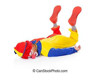 épuisé, clown, mensonge, sur, devant