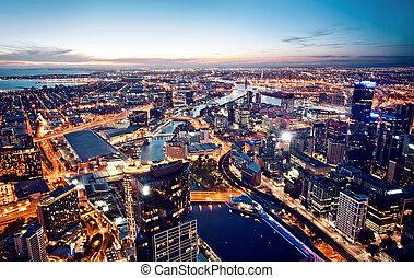 Melbourne, Victoria, Australia - A view of Melbourne at...