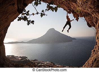 Rock climber at sunset. Kalymnos, Greece. - Rock climber at...