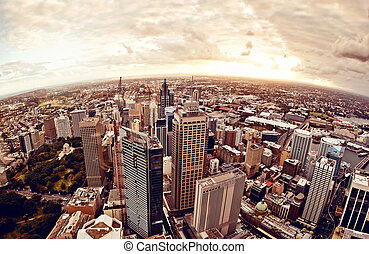 Sydney Australia downtown - Aerial view of downtown Sydney...