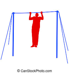 Silhouette of an athlete on the horizontal bar Vector...
