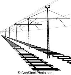 järnväg, uppe i luften, fodrar, kontakta,...