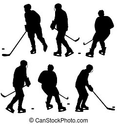 Set of silhouettes of hockey player. Isolated on white. Vector  illustrations.