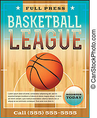 Basketball League Flyer - A basketball league flyer or...
