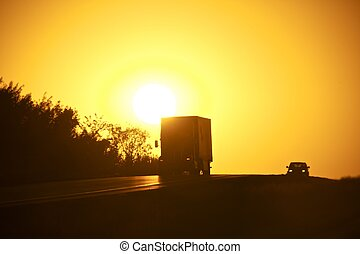 American Sunset Highway. Truck on the Highway....