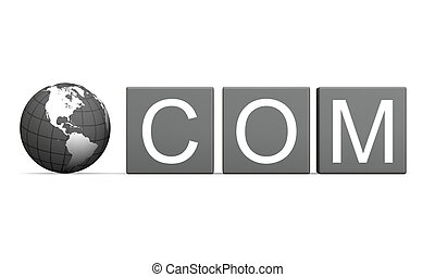 Dot com sign with planet earth model isolated on white...