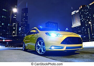Performance Yellow Car in Downtown Chicago. Fast and...
