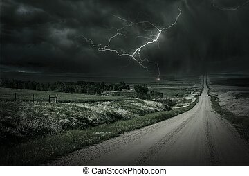 Country Storm. Back Country Gravel Road and Storm Ahead....