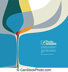 Abstract illustration with silhouette wine glass. - Abstract...