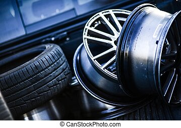 Tires and Rims - Low Profile Tires and Rims in the Garage....