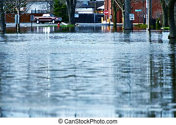 Deep Flood Water on the Street. Illinois Big Flood.