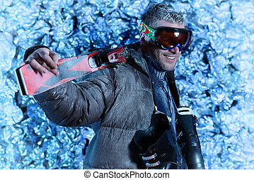 extreme sports - Handsome man dressed in winter clothes,...