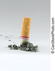 Cigarette and ashes on white background
