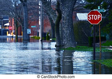 Flooded Street of Des Plains City. Spring River Flood. Des...