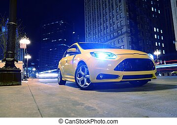 Car on the Street at Night - Sporty Car on the Street at...