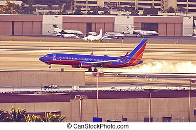 Landing Airliner at Las Vegas International Airport. Las...