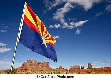 Welcome in Arizona - Arizona Flag in Monuments Valley, AZ,...